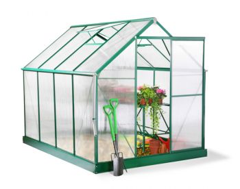 Lacewing™ 6ft x 8ft Deluxe Green Aluminium Frame Greenhouse