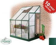 Lacewing™ 6ft x 4ft Deluxe Lean-To Green Aluminium Frame Greenhouse