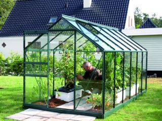 Venus 6200 Green Aluminium Greenhouse With Horticultural Glass 6ft x 10ft