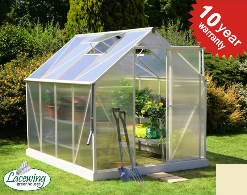 Lacewing™ 6ft x 8ft Deluxe Heritage Ivory Aluminium Frame Greenhouse