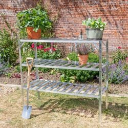 "Set of Two 4' 1"" Lacewing™ Traditional 3 Tier Greenhouse Staging - Silver"