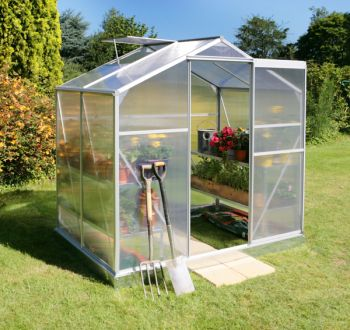 Lacewing™ 6ft x 4ft Essential Silver Aluminium Frame Greenhouse with Base