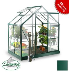 Lacewing™ 6ft x 4ft Deluxe Green Aluminium Frame Greenhouse with Toughened Glass