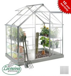 Lacewing™ 6ft x 4ft Deluxe Silver Aluminium Frame Greenhouse with Toughened Glass