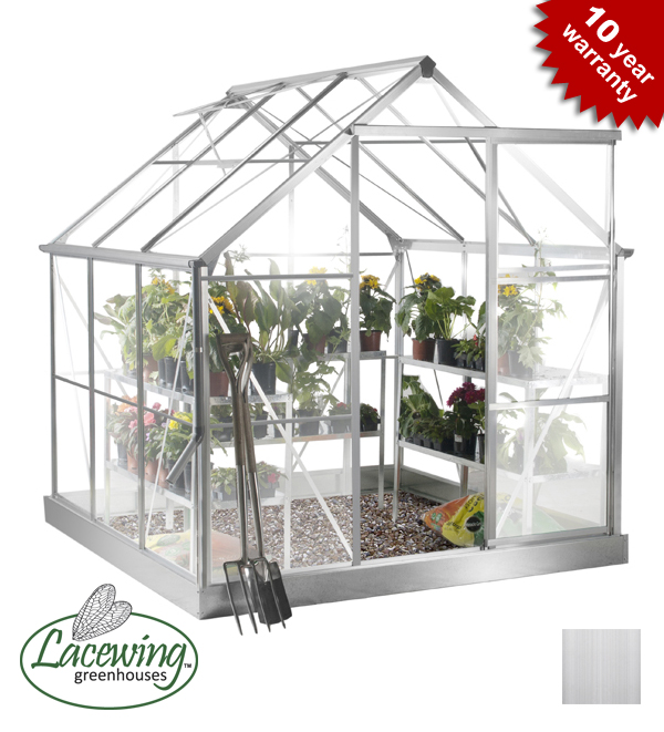 Lacewing™ 6ft x 6ft Deluxe Aluminium Frame Greenhouse with Toughened Glass