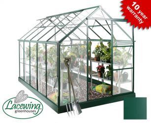 Lacewing™ 6ft x 10ft Deluxe Green Aluminium Frame Greenhouse with Toughened Glass