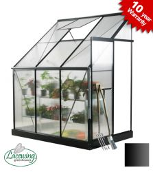 Lacewing™ 6ft x 4ft Deluxe Lean-To Black Aluminium Frame Greenhouse