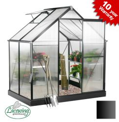 Lacewing™ 6ft x 4ft Deluxe Black Aluminium Frame Greenhouse