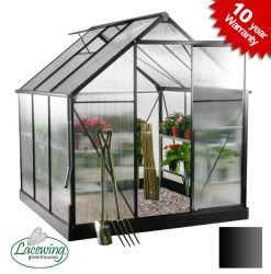 Lacewing™ 6ft x 6ft Deluxe Black Aluminium Frame Greenhouse