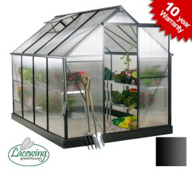 Lacewing™ 6ft x 8ft Deluxe Black Aluminium Frame Greenhouse