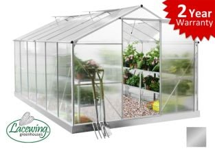 Lacewing™ 8ft x 12ft Essential Aluminium Frame Greenhouse with Base