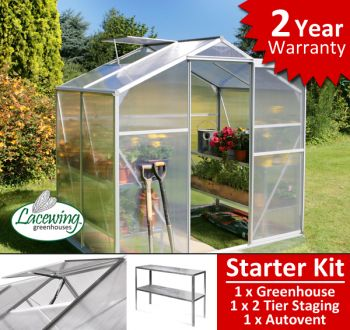 Lacewing™ 6ft x 4ft Essential Greenhouse Starter Kit