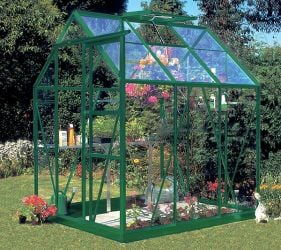 Eden Countess Aluminium Frame Greenhouse 5ft x 6ft Green with Polycarbonate Sheeting