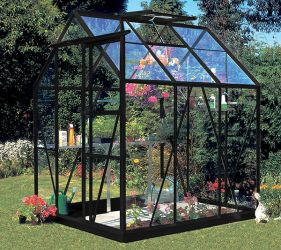 Eden Countess Aluminium Frame Greenhouse 5ft x 6ft Black with Toughened Glass