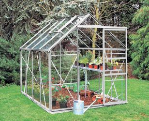 Eden Regent Aluminium Frame Greenhouse 6ft x 8ft Silver with Horticultural Glass