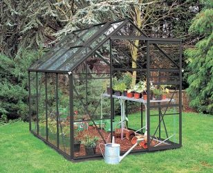 Eden Regent Aluminium Frame Greenhouse 6ft x 8ft Black with Horticultural Glass