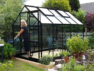 Eden Marquess Aluminium Frame Greenhouse 6ft x 10ft Black with Horticultural Glass