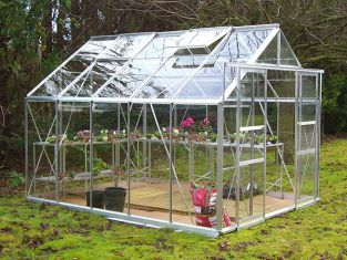 Eden Consort Aluminium Frame Greenhouse 8ft x 10ft Silver with Horticultural Glass