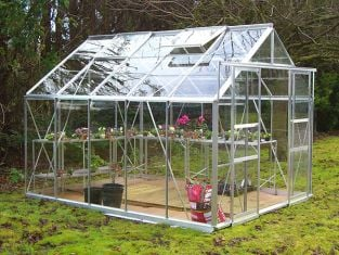 Eden Consort Aluminium Frame Greenhouse 8ft x 10ft Silver with Polycarbonate Sheeting