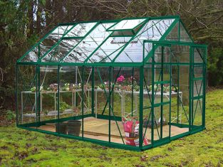 Eden Consort Aluminium Frame Greenhouse 8ft x 10ft Green with Polycarbonate Sheeting