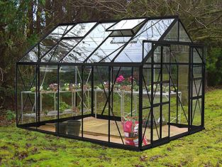 Eden Consort Aluminium Frame Greenhouse 8ft x 10ft Black with Toughened Glass
