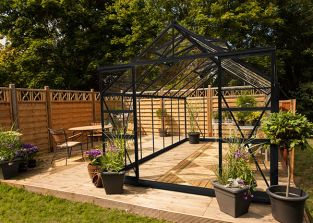 Eden Regal Aluminium Frame Greenhouse 8ft x 14ft Black with Horticultural Glass