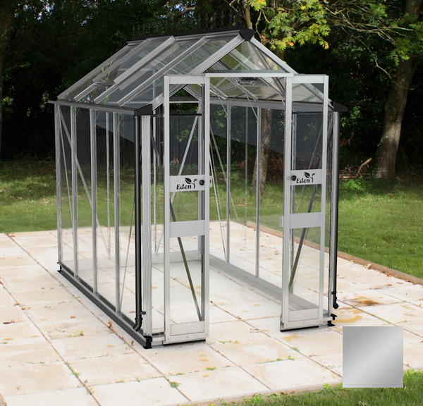 Eden Birdlip Zero Threshold™ Aluminium Frame Double Door Greenhouse 4ft x 8ft in Silver