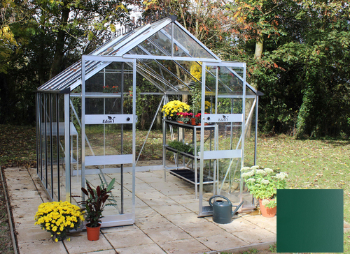 Eden Blockley Zero Threshold™ Aluminium Frame Double Door Greenhouse 8ft x 10ft in Green
