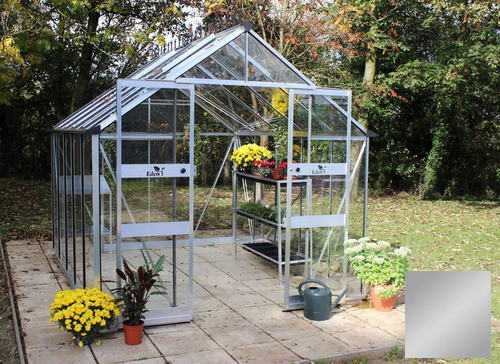 Eden Blockley Zero Threshold™ Aluminium Frame Double Door Greenhouse 8ft x 12ft in Silver