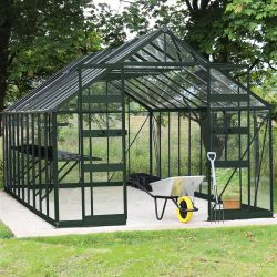 Eden Bourton 1012 Toughened Long Pane Greenhouse in Green - 273cm x 317cm