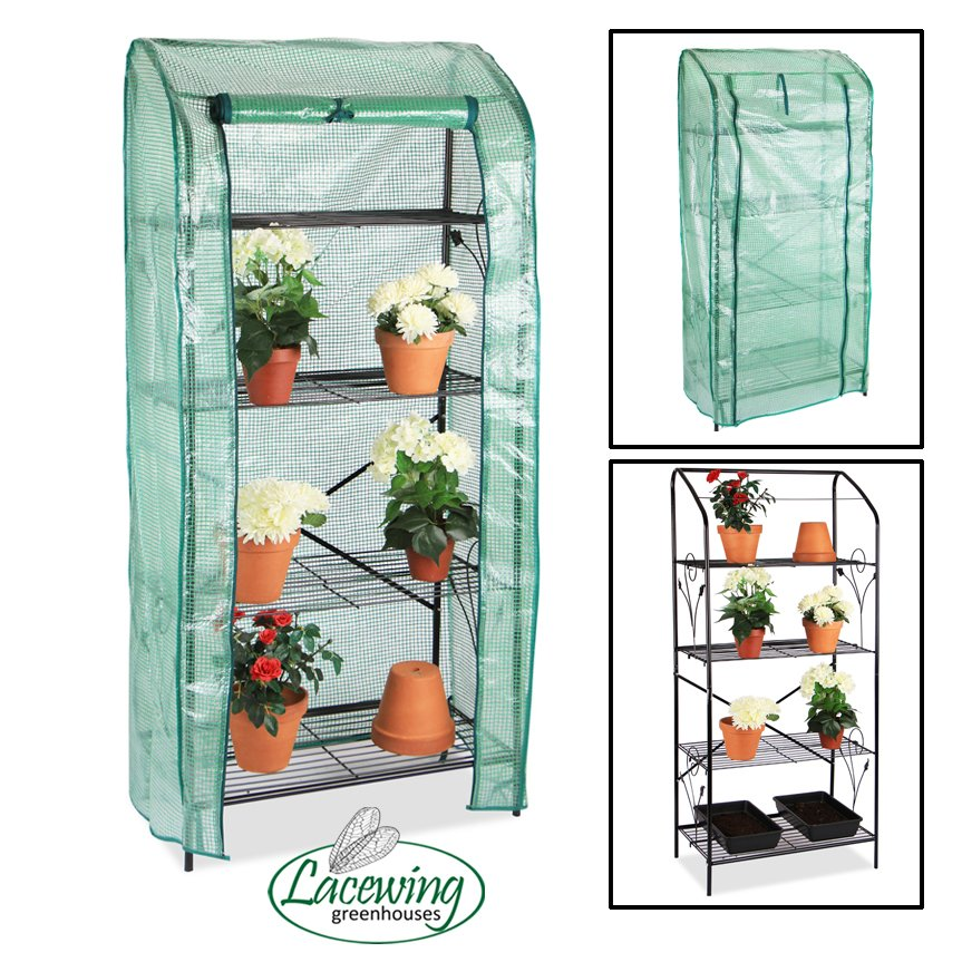 Lacewing™ 4 Tier Mini Greenhouse Plant Stand with Removable Cover 159cm x 70cm