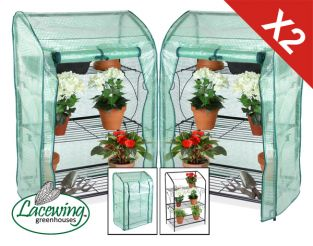 Set of 2 Lacewing 3-Tier Mini Greenhouses / Plant Stands with Removable Covers