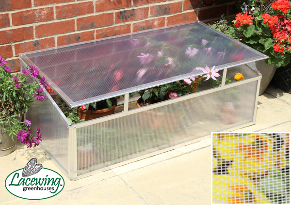 Lacewing™ 3ft 6in x 1ft 10in Deluxe Aluminium Cold Frame - With Hinged Lid and Protective Netting