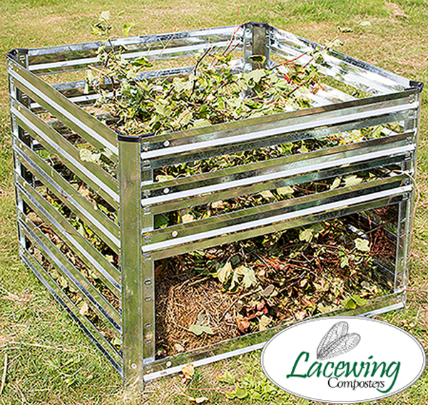 Easy Load Galvanised Steel Slatted Compost Bin 605L - H70cm x W93cm by Lacewing™