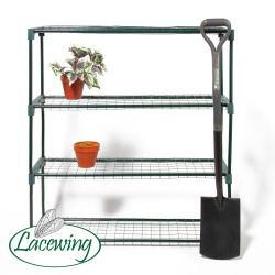 3ft 5in Lacewing™ 4 Tier Greenhouse Staging in Green