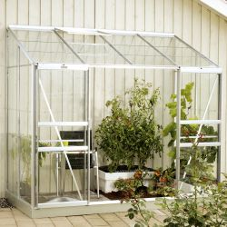 4ft x 8ft Ida 3300 Lean-To Greenhouse - Silver