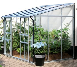 6ft x 8ft Ida 5200 Lean-To Greenhouse - Silver