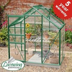 Lacewing™ 6Ft x 4Ft  Crystal Clear Polycarbonate Greenhouse in Green with Base