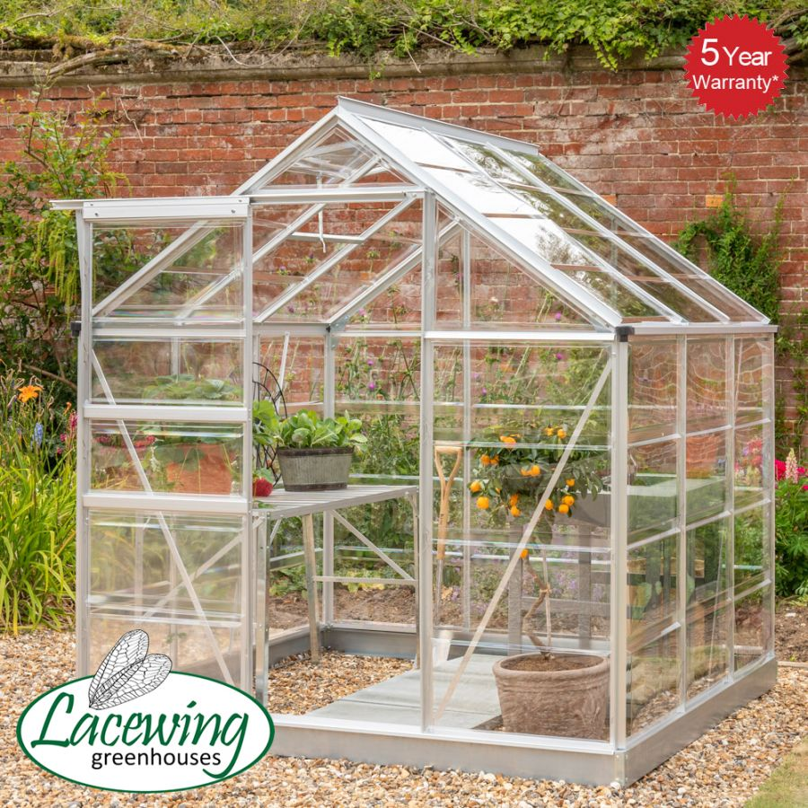 Lacewing™ 6Ft x6Ft Cristal Polycarbonate Greenhouse Silver Frame