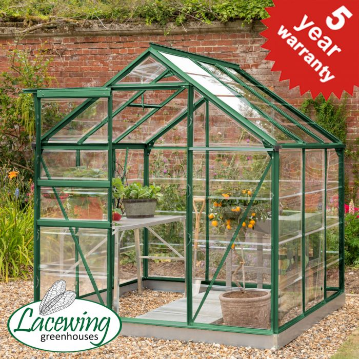 Lacewing™ 6Ft x6Ft Crystal Clear Polycarbonate Greenhouse in Green with Base