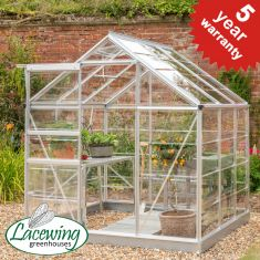 Lacewing™ 6Ft x6Ft Crystal Clear Polycarbonate Greenhouse in Silver with Base