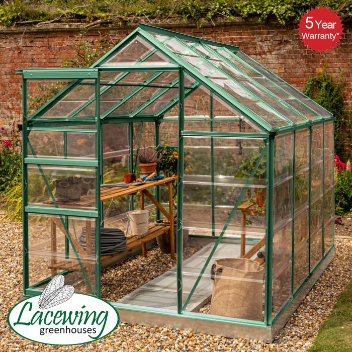 Lacewing™ 6Ft x 8Ft Cristal Polycarbonate Greenhouse Green Frame