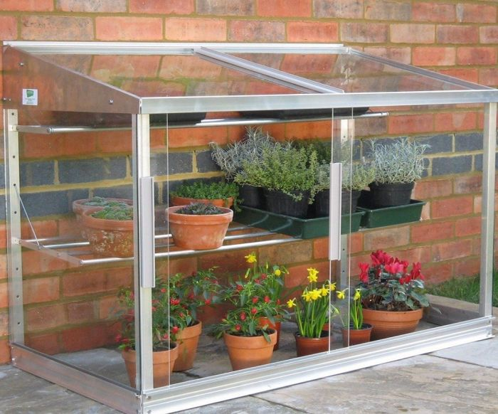 4ft Aluminium Lean-To Half Wall Greenhouse