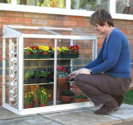 "Harlow 3'4"" Mini Lean-To Greenhouse with Shelves"