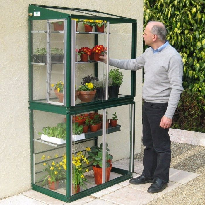 "Freestanding Hampton 3'4"" Lean-To Greenhouse with Shelves"
