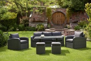 Chadbury Six Piece Rattan Sofa Set in Charcoal Grey