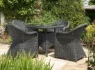 Cleobury Five Piece Rattan Dining Set in Charcoal Grey