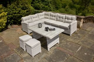 Ledbury Five Piece Rattan Corner Set in Two-Tone Finish