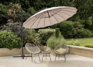 Geisha Style Cantilever Parasol in Taupe 3x3m