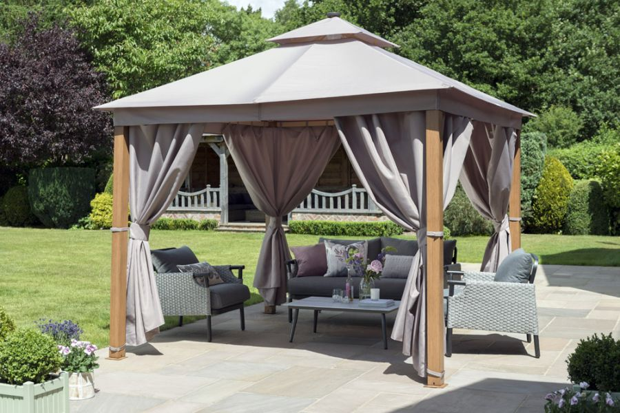 Luxury Gazebo with LED Lighting in Taupe 3x3m